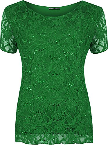 Islander Fashion Damen Floral Lace Pailletten Sparkle T Shirt Damen ...