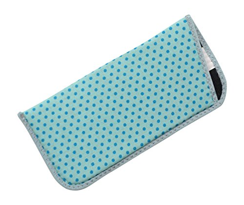 Fabric Eyeglass Slip Case In Sky Blue With Tiny Darker Blue Polka Dots USA - In Glasses Made Usa Reading