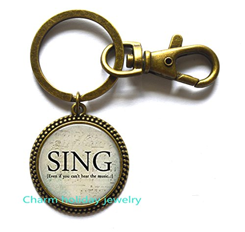 SING Music Jewelry - Gift for Singer - Chorus - Singer Keychain - Singer Keychain- Choir Keychain - Sheet Music -