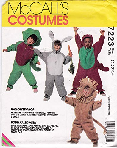 Toddler's Animal Costumes Dinosaur, Lion, Bunny, Pumpkin, Cat, Jester McCall's Sewing Pattern 7223 Child Size 2 3 4 -