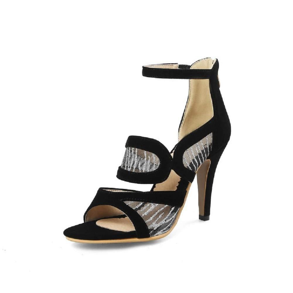 Fuxitoggo Mesh-Pumpen Breathable High Heel Large Reißverschluss Größe Reißverschluss Large Peep Toe Schuhe (Farbe   Schwarz, Größe   EU 41) e8e65b