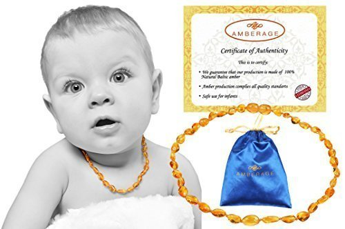 Baltic Amber Baby Teething Necklaces(Unisex) Anti Flammatory, Drooling & Teething Pain Reduce Properties, Certificated Bean Beads (Lemon),Quality Guaranteed