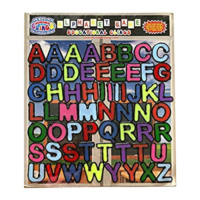 Alphabet and Letters Thick Gel Clings (56 pc) – Reusable and Removable Window Clings for Kids - CPSC Teste Safe Gel Decals Create Messages Like Welcome Home, Happy Birthday and More
