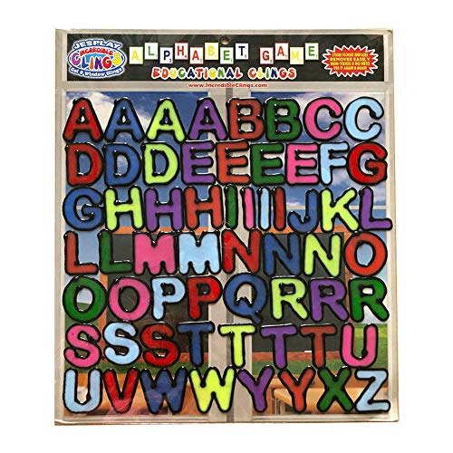 Alphabet and Letters Thick Gel Clings (56 pc) - Reusable and Removable Glass Window Clings for Kids - Gel Decals Create Messages Like Welcome Home, Happy Birthday Home, Airplane, Classroom, -