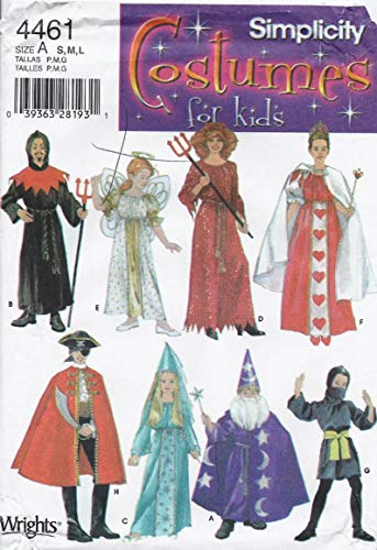 UNCUT & OOP SIMPLICITY 4461 COSTUMES SEWING PATTERN - DEVILS, ANGEL, QUEEN OF HEARTS, PIRATE, PRINCESS, WIZARD, NINJA CHILDREN'S SEWING PATTERN - ALL SIZES: S,M,L -