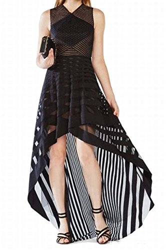 BCBG Max Azria Women's Illusion Striped Hi-Lo Gown Black 4