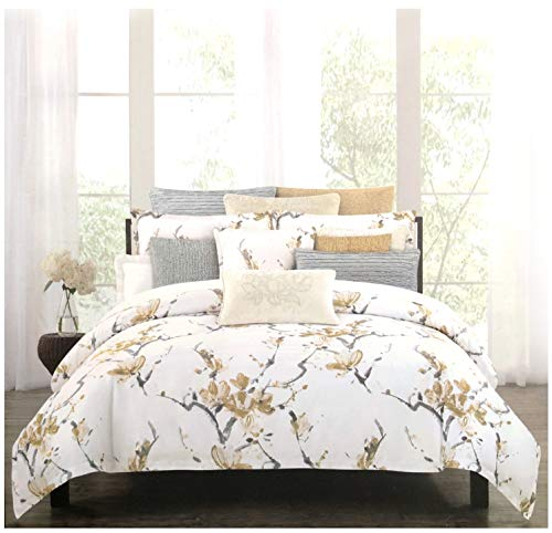 Nicole Miller Home 3 PC Queen Duvet Cover Set Floral Botanical Terry Garden Pattern Flowers in Shades of Gray on Light Pink White ()
