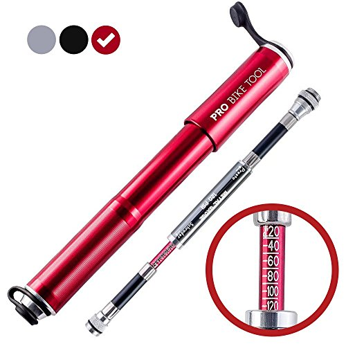 Mini Bike Pump with Gauge by PRO BIKE TOOL - Presta & Schrader Valve Compatible - Reliable, Quick & Easy Bicycle