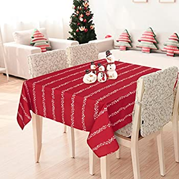 Deconovo Oxford Decorative Christmas White Shatter Water Resistant Square  Tablecloth For Christmas, 60x60 Inch