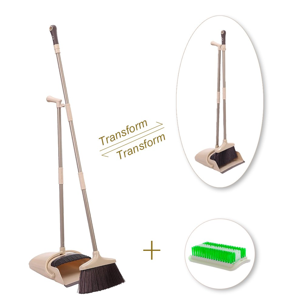 IKU Transmutable in Length Long Handle Broom and Dustpan Set - 3 Poles (48'') & 2 Poles (35.2'') - Indoor Upright Standing Collapsible Lobby Broom for Home Office Kitchen with Hand Scrub Brush(Beige)