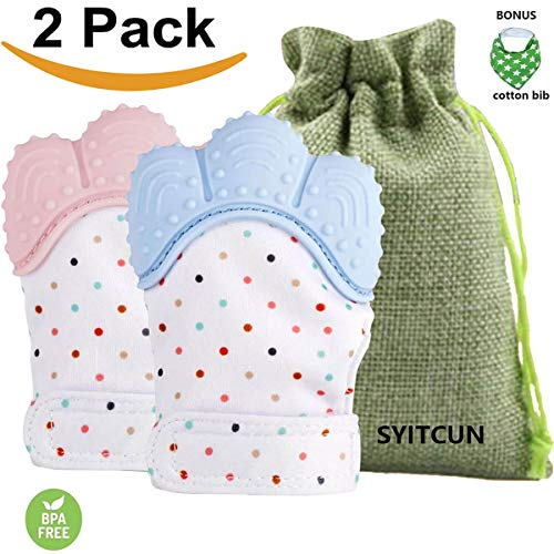 Baby Teething Mittens Self Soothing Pain Relief Mitt Stimulating Teether Toy Prevent Scratches Protection Glove with Travel Bag Stay on Babys Hand Unisex for 0-18 Months Baby
