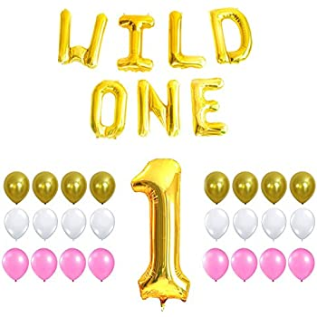 WILD ONE BIRTHDAY DECORATION KIT - Pink White Gold Balloons Set,Perfect for 1st Bday Party Supplies, Girl or Boy, Number 1 Mylar, Latex Ballon