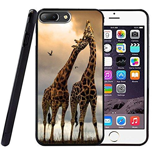 Drop proof designer pair giraffes designer animal pattern design print for iPhone 7 Plus Cover Case giraffe print Black tpu Case
