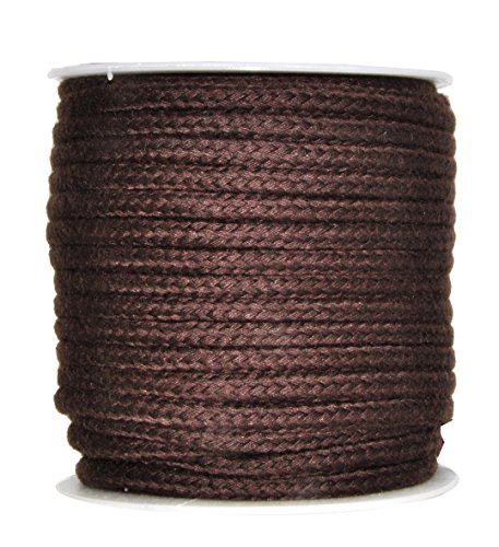 Mandala Crafts Soft Drawstring Replacement Rope Upholstery Crochet Macramé Cotton Welt Trim Piping Cord (Chocolate Brown, 5mm)