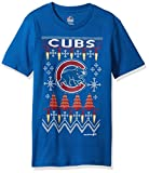 MLB Chicago Cubs Youth Boys Light the Tree Short Sleeve Tee, Medium (10-12), Royal