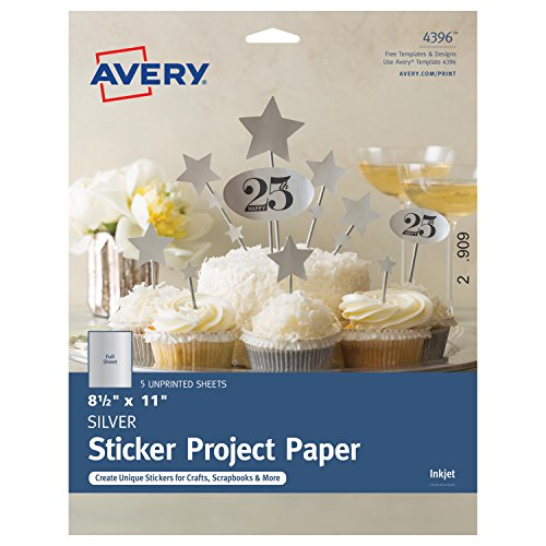 Avery Full-Sheet Sticker Project Paper, Silver, 8-1/2