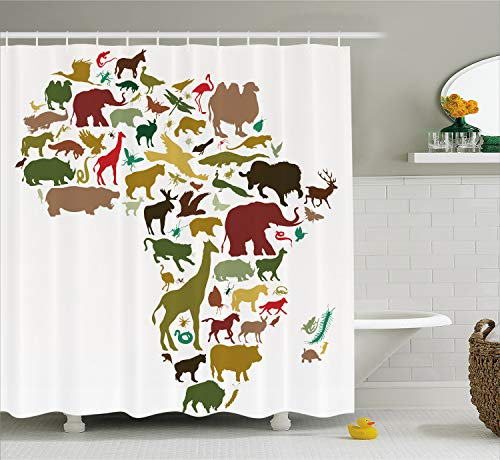 Ambesonne Wildlife Decor Shower Curtain by, African Continent Map with Local Animal Diversity Lion Camel in Equator Design, Fabric Bathroom Decor Set with Hooks, 84 Inches Extra Long, Multi