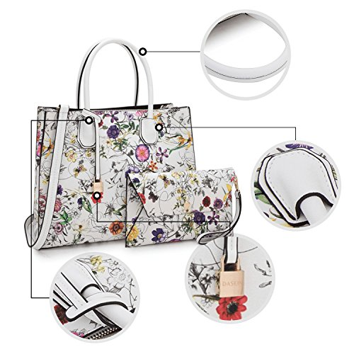 With Purses Tassel Bags Handbags Wallet Bag 7661 Top White Shoulder Flower Designer Satchel Lock Handle For Women Matching S4AxxqHw