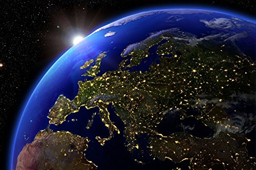 Great Art Europe at Night View from Outer Space Wall Decoration - Mural Continent Motiv XXL Wallpaper (55 Inch x 39.4 Inch/140 cm x 100 ()