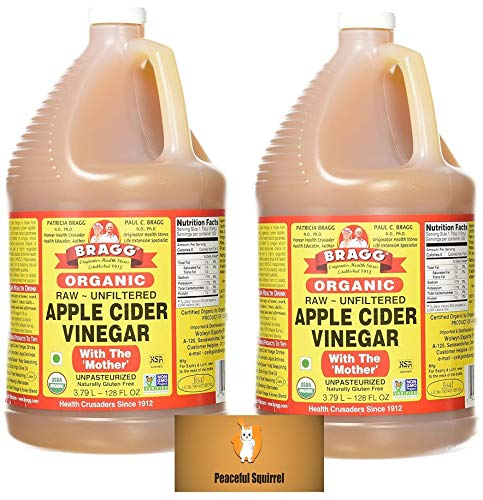 Vinegar With Apple Bragg Mother Cider (Bragg Organic Raw Apple Cider Vinegar, 128 Ounce (Pack of 2) + Bonus Magnet)