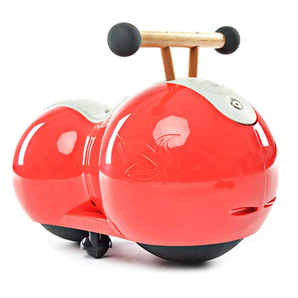 LMHRTWJ Kinder Fahren auf dem Auto-Spielzeug-Erdnuss-Kürbis-Entwurfs-Baby-Säuglings-Torsions-Auto-Antrieb-Wanderer für Kinder, auf Kinderautos, Gules zu reiten