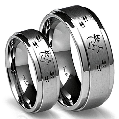 Southern Designs His Buck & Her Doe Tungsten Ring Set (His 10 Hers 8) (His Her Doe)