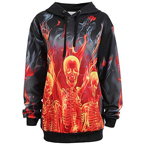 Limsea 2018 Women Halloween Skeleton Fire Kangaroo Pocket