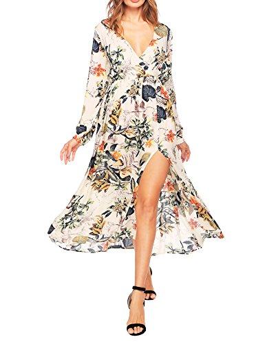 Boho Print Long A Maxi Wrap Dress Tie Women's Waist white Sleeve Beyove Split Floral xUCqT4UB