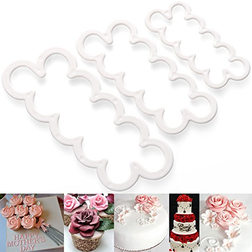 3pcs Rose Fondant Cake Decoration Mold Sugarcraft Icing Cutters Bakeware Gumpaste Modelling Tools for Birthday Party Wedding Christmas Valentine's Day Gifts Accessories Supplies