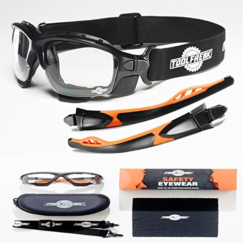 ToolFreak-Spoggles ,Safety Glasses & Protective Goggles Meeting ANSI Z87 Standards |Foam Padded for Comfort |Treated to Help Reduce Fog and Scratch | Clear Lens Providing UV Protection