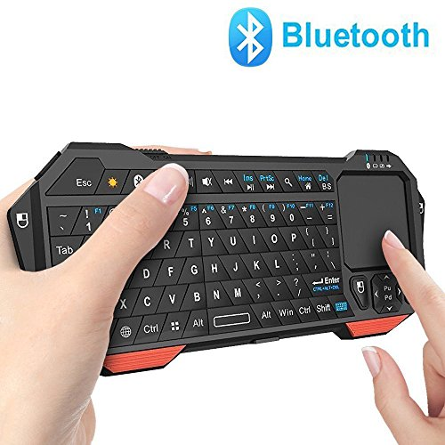 Mini Bluetooth Keyboard, Jelly Comb LED Backlit Rechargable Handheld Wireless Mini Keyboard with Mouse Touchpad for Android / Windows Tablet Smartphone (Wireless Keyboard W Touchpad)