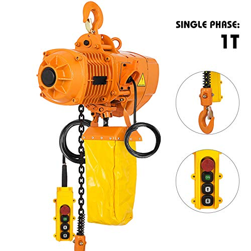 Mophorn 1 Ton Electric Chain Hoist Single Phase 2200Lbs 10ft Lift Height Electrical Hook Mount Chain Hoist G80 Chain Hoist Lift Electric Hoist with Pendant Control (1T 110V)