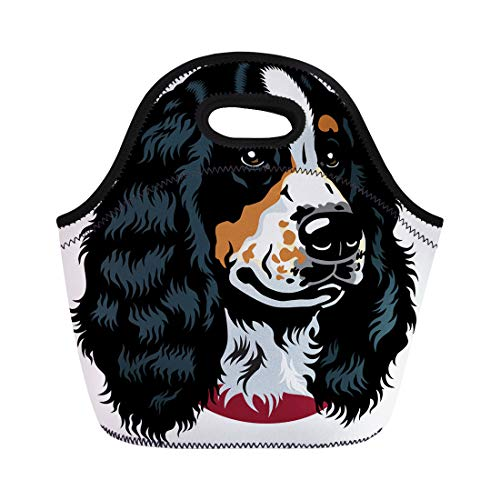 Semtomn Lunch Bags Bird Animal Dog Head English Cocker Spaniel Breed White Neoprene Lunch Bag Lunchbox Tote Bag Portable Picnic Bag Cooler Bag