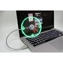 Mini Portable USB Electric Table Desktop Fan with Green + Red LED Clock Time Display