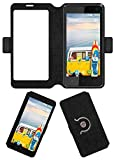 Acm SVIEW Window Designer Rotating Flip Flap Case for Micromax Bolt Q339 Mobile Smart View Cover Stand Black