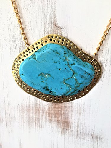Single Large Turquoise and Hand Cut Brass Pendant Necklace