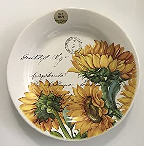 Bright Yellow Sunflower Set of 2 Dinner Plates | Valori Home | Made In Italy & Amazon.com | Bright Yellow Sunflower Set of 2 Dinner Plates | Valori ...