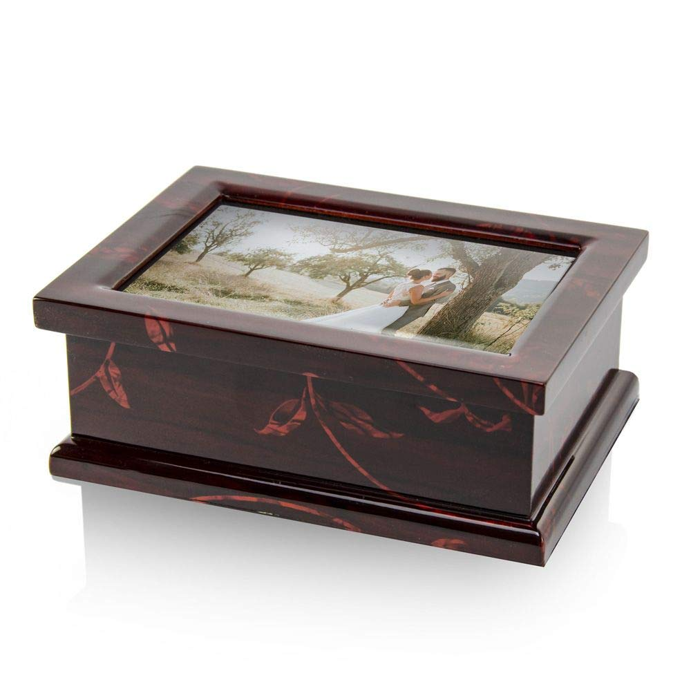 Modern 4 X 6 Photo Frame Musical Jewelry Box with Floral Motifs - Over 400 Song Choices - You are So Beautiful to Me