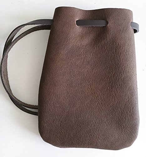 Leather Drawstring Pouch/Coin Bag/Medieval Style Reenactment Pouch--SM DK BR by NS Leather