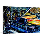 Gallery-Wrapped Canvas Entitled Jazz Piano 2 New Orleans Music by M Baldwin by Marcia Baldwin 48''x32''