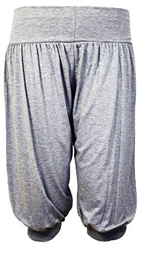 F4U ® Mujer 3/4Ali Baba pantalones baggy short Alibaba harén pantalones de verano pantalones de 8–�?2 gris
