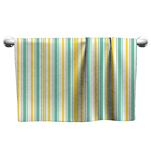 Square Towel Geometric,Summer Season Inspired Exotic Toned Vertical Stripes and Dots Abstract,Seafoam Yellow White,Suction Towel bar for Shower ()