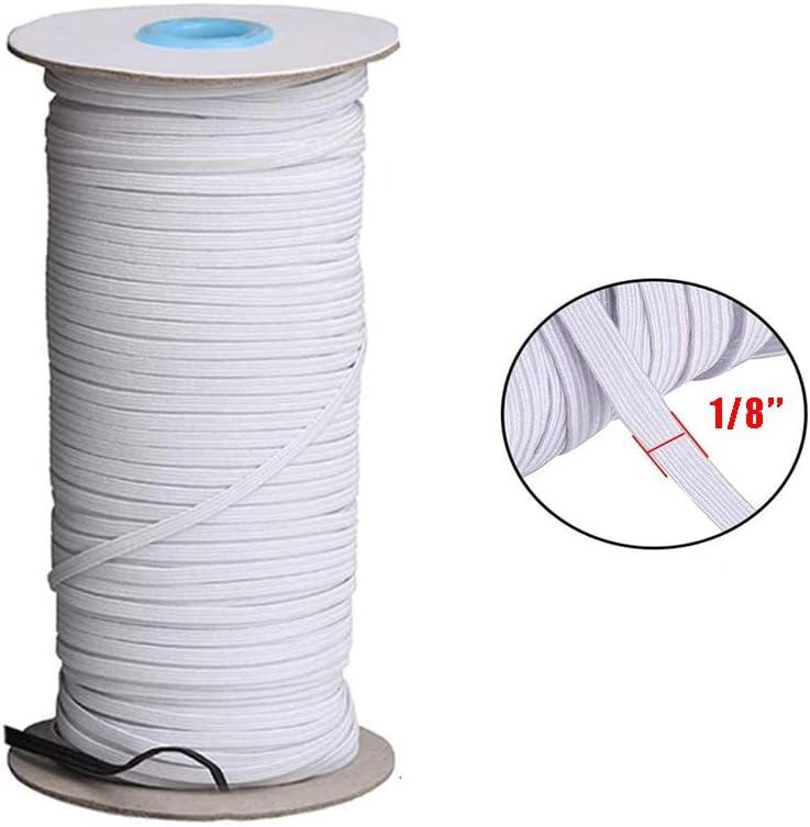 3mm Elastic Cord Black Braided Elastic Rope Elastic Spool Elastic String Heavy Stretch High Elasticity Knit for Sewing Crafts DIY Bedspread Cuff DYRDM 100 Yards Elastic Band for Sewing 1//8