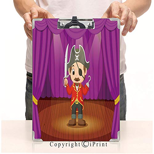 Document Paperboard Profile Clip,Print Clipboards,A4 Standard,Office Folders,Cute Little boy Wearing Pirate Costume on Stage ()