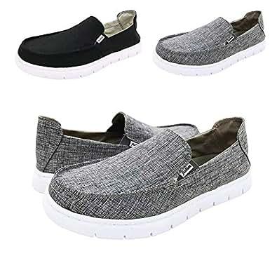 QZX Boat Shoes Men Deck-Canvas-Loafers-Slipon-for Mens Casual Walking Vintage Flat Comfort Shoe Grey Size: 8