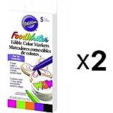 Bulk Buy: Wilton Fine Tip Food Writer Edible Color Markers 5/Pkg Neon W609-116 (2-Pack)