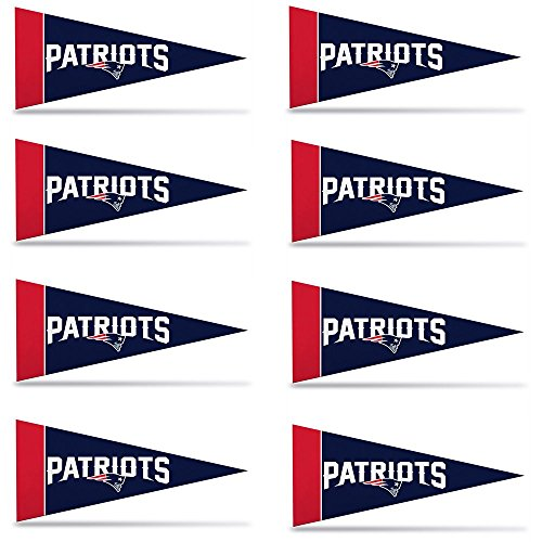 New England Patriots NFL Team Logo Home Office Bedroom Garage Decoration - Mini Pennant Set - 8PC