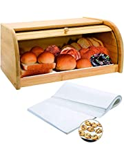 Bamboo Bread Box Wooden Box Bread Storage Bread Basket for Kitchen Counter Large Capacity Bread Holder
