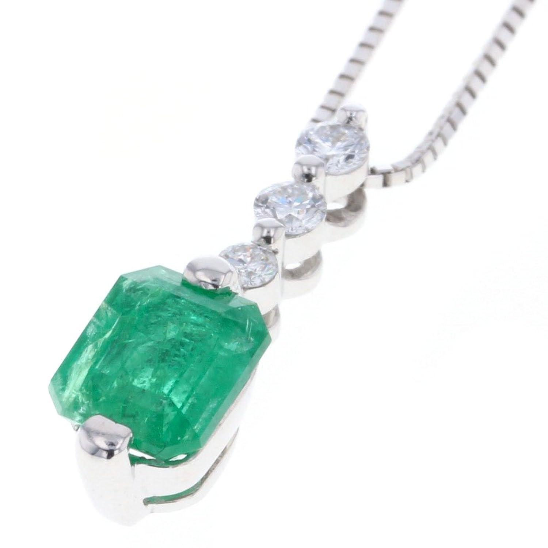 (ノーブランド品) エメラルド 1.014ct 1P ダイヤモンド 0.15ct 3P ネックレス K18ホワイトゴールド/エメラルド エメラルド1.014ct ダイヤモンド0.15ct レディース 中古 [PD2] B07D6ZRFRT