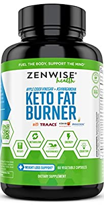 Keto Fat Burner for Weight Loss - Ketogenic Diet Pills with Apple Cider Vinegar, Ashwagandha, Forskolin & Caffeine - Thermogenic Fat Burners + Metabolism & Energy Supplement - 60 Capsules